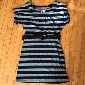 Cap-sleeved striped dress